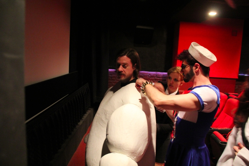 Getting Mr. Puft dressed and ready